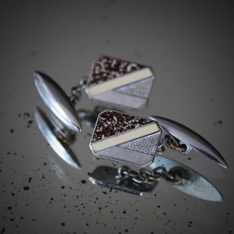 English Art Deco Textured and Chromed Cufflinks with Brown-Speckled and Cream Enameling (LEO Design)
