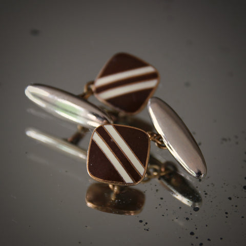 English Art Deco Cufflinks with Brown and White Enameling (LEO Design)