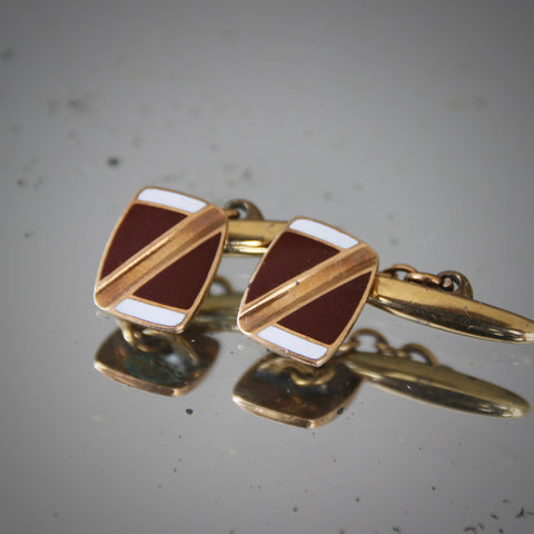 English Art Deco Cufflinks with Brown and White Color Block Enameling (LEO Design)