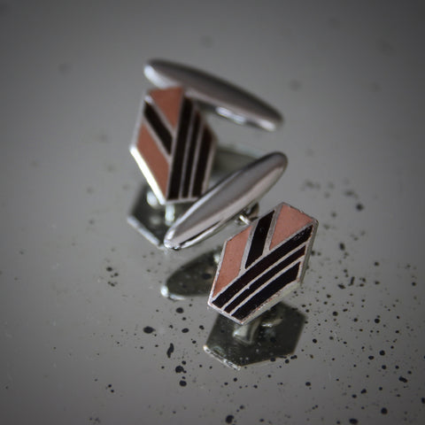 English Art Deco Chromed Cufflinks with Rootbeer and Taupe Enameling (LEO Design)
