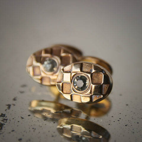 """Early Modernist """"Cubist"""" Cufflinks with Faceted Rock Crystals at Center (LEO Design)"""