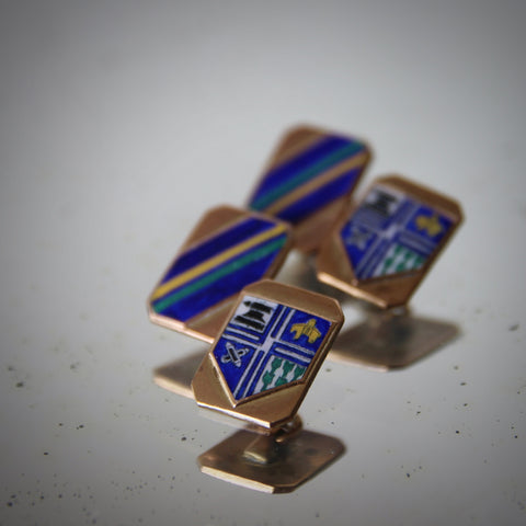 English Cufflinks with Enameled School Crest and Repp Stripes (LEO Design)