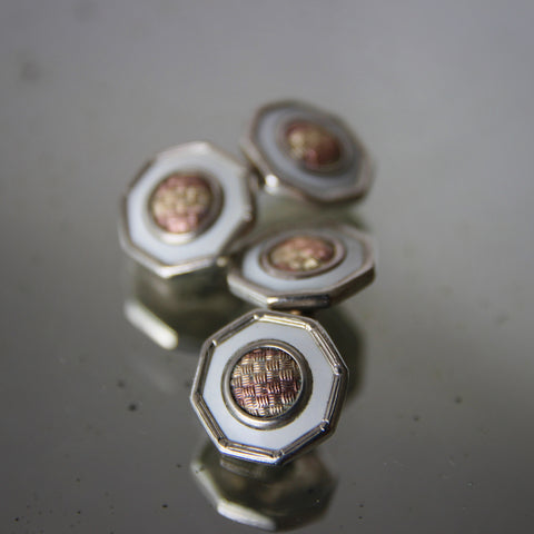 Art Deco Octagonal Cufflinks with Mixed-Metal Centers and White Irises (LEO Design)