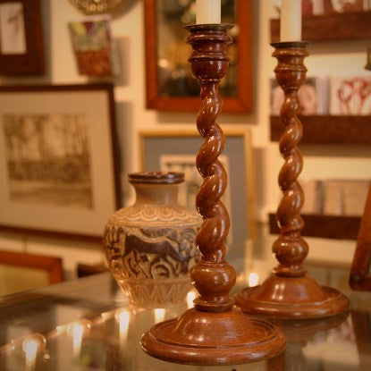 English Wooden Barley Twist Candlesticks (LEO Design)
