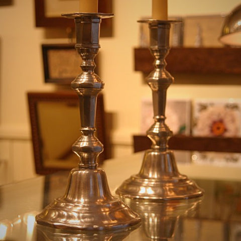 Contemporary Italian Cast-Pewter Candlesticks (LEO Design)