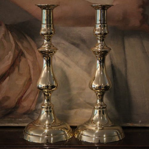 Victorian English Large Brass Candlesticks (LEO Design)