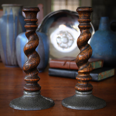 English Arts & Crafts Oak Barley Twist and Hammered Pewter Candlesticks (LEO Design)