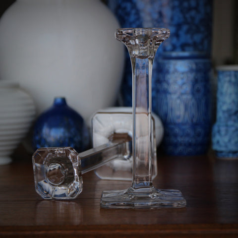 Polished Glass Candlesticks with Vaulted, Clipped-Square Bases and Tops (LEO Design)