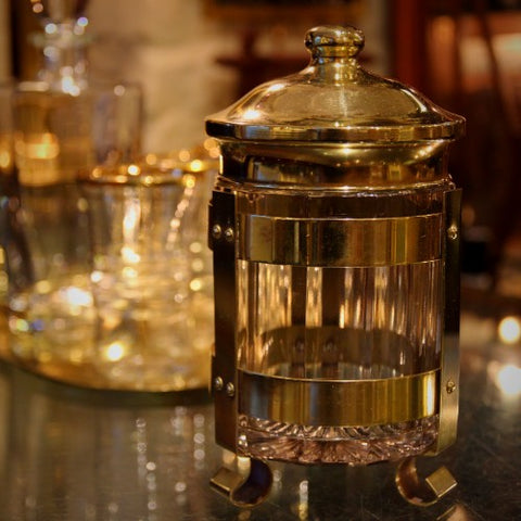 Faceted Glass Tobacco Jar with Brass Stand and Cover (LEO Design)