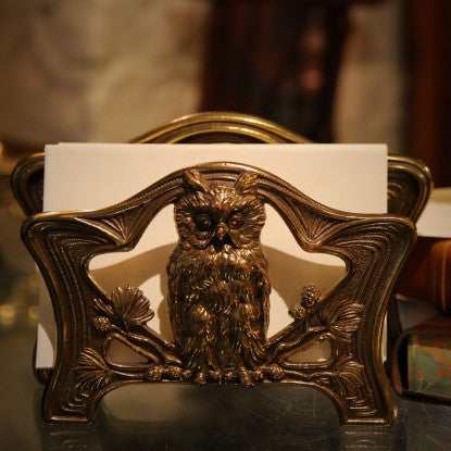 Art Nouveau Wise Owl on Pine Letter Rack (LEO Design)