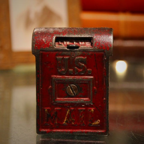 Cast Iron Mailbox Bank with Original Paint (LEO Design)
