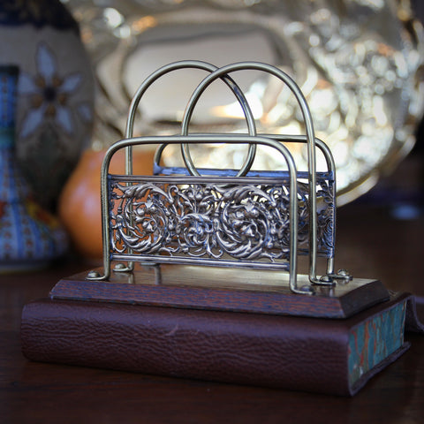 Edwardian English Letter Rack with Oak Base and Scrolling Botanical Brasswork (LEO Design)