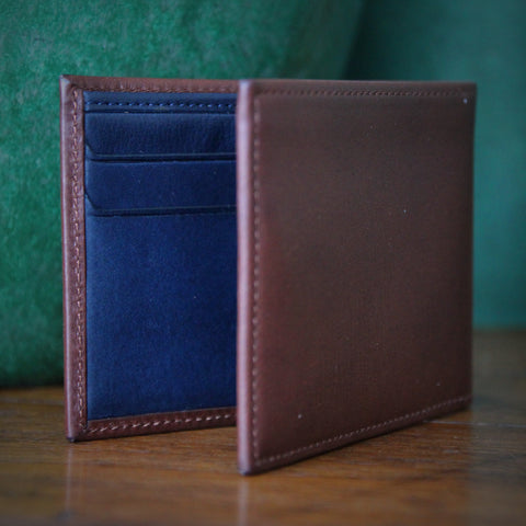 Italian Tan Leather Wallet with Navy Blue Leather Interior (LEO Design)