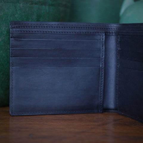 Classic Black Calfskin Billfold with Double Currency Pocket (LEO Design)