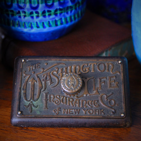 Cast Iron Washington Life Advertising Paperweight with Bronze Nameplate and Knob (LEO Design)