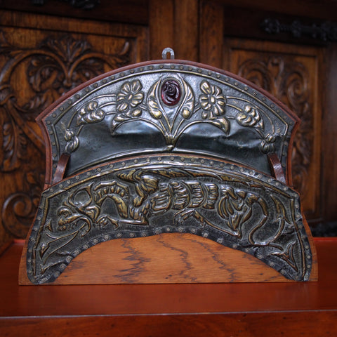 English Arts & Crafts Letter Rack with Brass Repoussé Mountings with Dragon and Glass Amethyst (LEO Design)