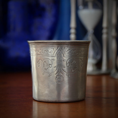 Italian Sand-Cast Pewter Beaker with Incised Aesthetic Movement Embellishment (LEO Design)
