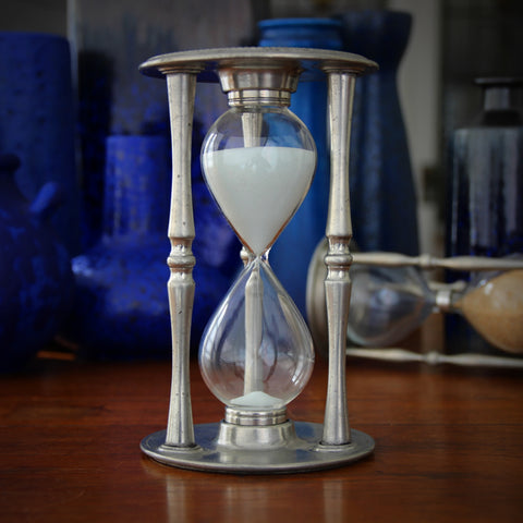 Italian Pewter 30 Minute Sandglass with Perpetual Calendar (LEO Design)