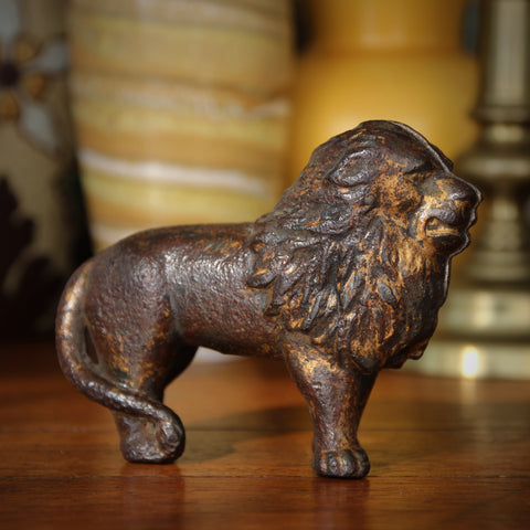 Cast Iron LEO Coin Bank with Heavy Traces of Original Gold Paint (LEO Design)