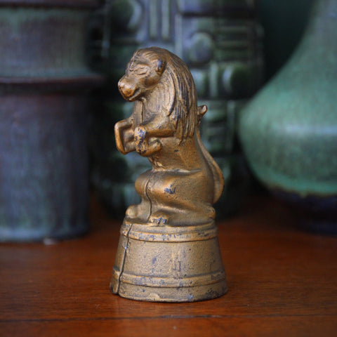 Cast Iron Circus Lion Coin Bank with Original Gold Paint (LEO Design)