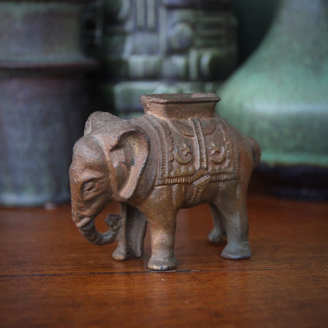 Cast Iron Elephant Coin Bank with Traces of Original Gold Paint (LEO Design)