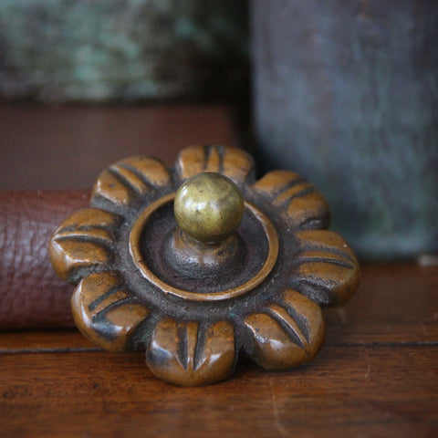 Victorian Cast Bronze Corollated Paperweight with Brown Patina (LEO Design)