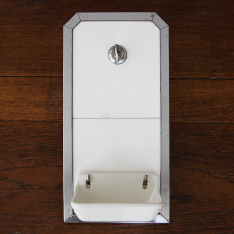 """Art Deco Industrial Tiled and Chromed """"Wash Station"""" with Brush Hook and Removable Ironstone Soapdish (LEO Design)"""