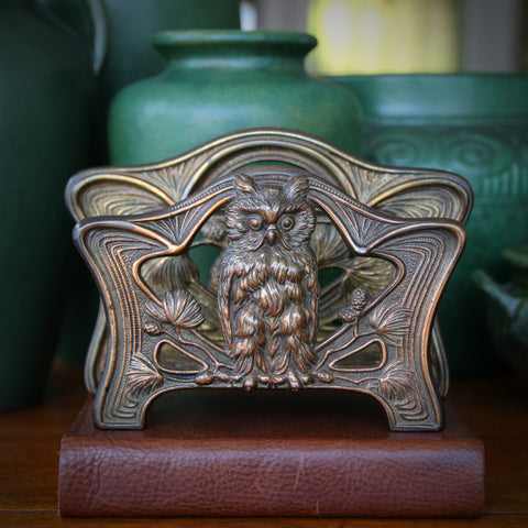 """American Art Nouveau """"Wise Owl"""" Letter Rack with Whiplash and Pine Branch Decor (LEO Design)"""