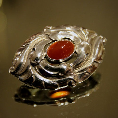 Scandinavian Silver Brooch with Carnelian Cabochon (LEO Design)