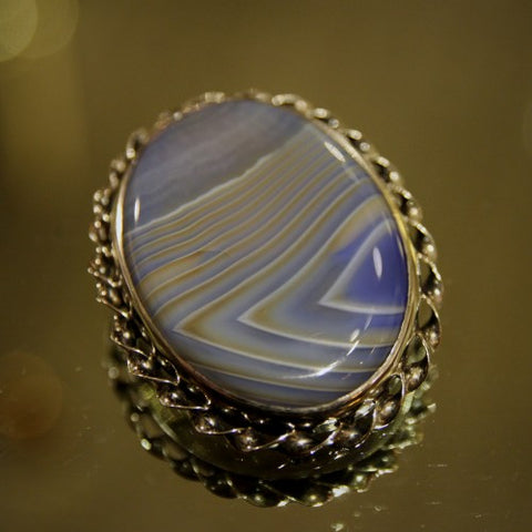 English Agate Brooch in Silver Setting (LEO Design)