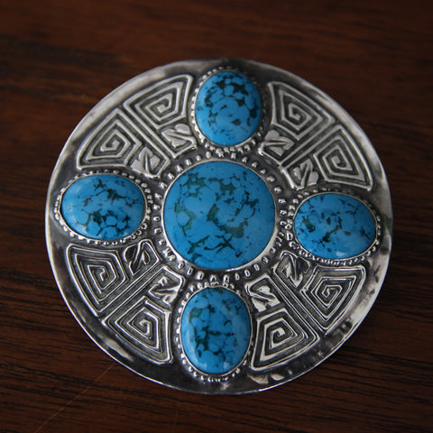 English Arts & Crafts Silver-Fronted Brooch with Art Glass Turquoise Cabochons and Celtic Design (LEO Design)