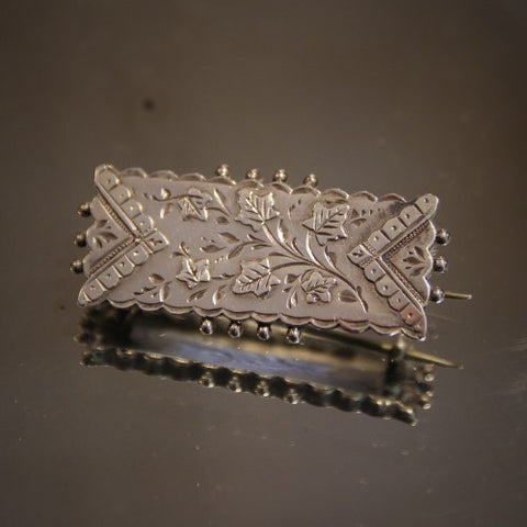 Victorian English Silver Brooch with Botanical Spray (LEO Design)