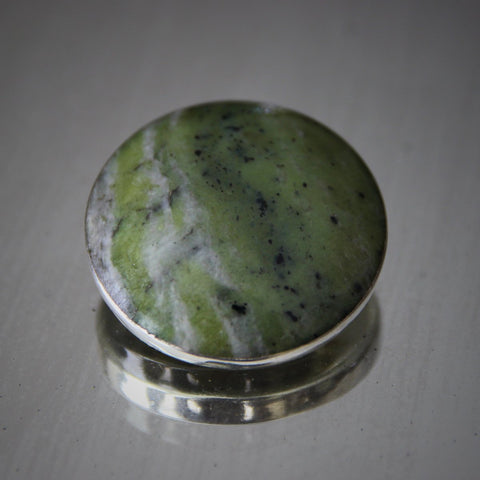 Irish Connemara Marble Brooch in Sterling Setting Hallmarked Dublin, 1966 (LEO Design)