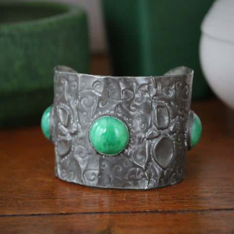 English Arts & Crafts Hammered Pewter Cuff with Three Inset Jade Glass Cabochons (LEO Design)