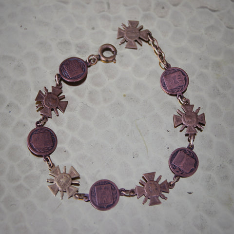 """French World War One """"Sweetheart Bracelet"""" with Croix de Guerre and Battle Medallions (LEO Design)"""