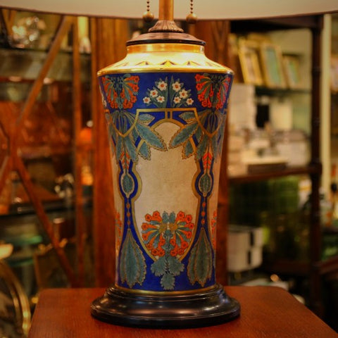Marshall Field's Hand-Painted Orientalist Ceramic Lamp by Vera L. Smith (LEO Design)