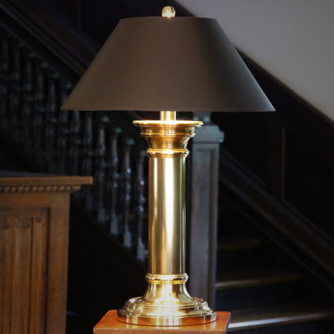Heavy Columnar Brass Table Lamp (LEO Design)