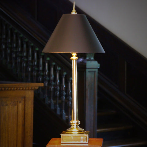 Tapering Columnar Brass Lamp with Sculpted Finial (LEO Design)