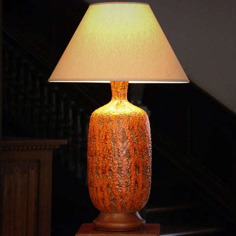 Mid-Century Modernist Ceramic Lamp with Textured Orange Glazing (LEO Design)