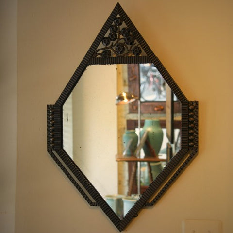 French Art Deco Mirror with Wrought Iron Frame and Floral Motif (LEO Design)