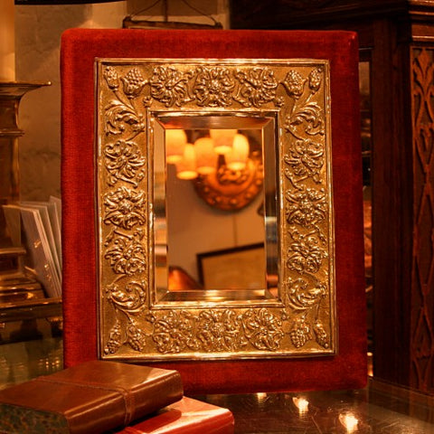 Victorian English Bevelled Mirror with Hand-Tooled Brass Floral Border (LEO Design)