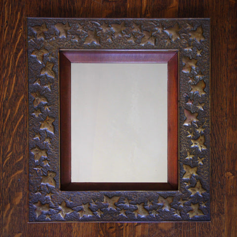 Arts & Crafts Hand-Tooled Brass-Framed Mirror with Climbing Ivy Motif