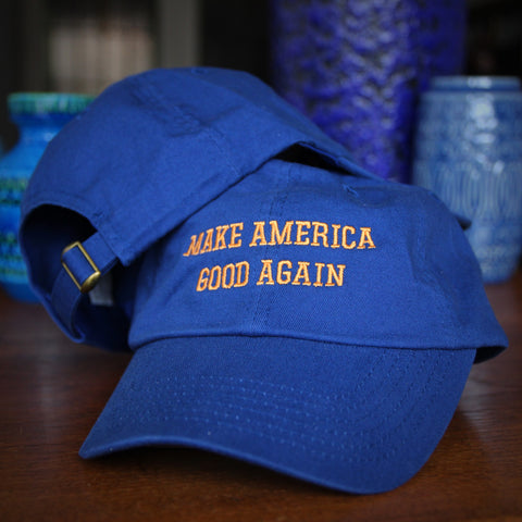 "Vintage Style Royal Blue ""Make America Good Again"" Cotton Baseball Cap (LEO Design)"