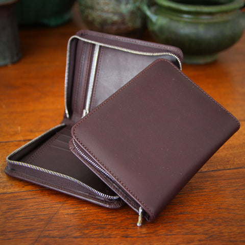 Bill Amberg English Chocolate Brown Bridal Leather Zippered Wallet (LEO Design)