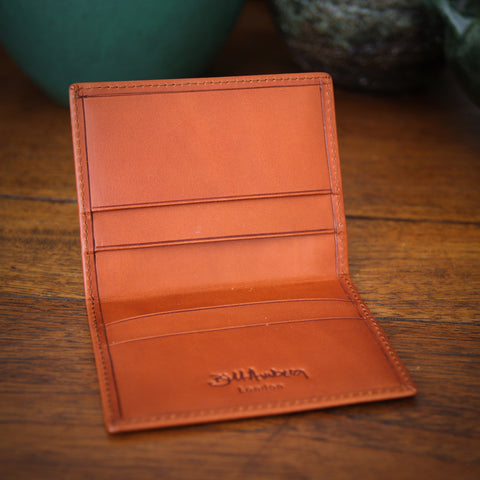 Bill Amberg English Vegetable-Dyed Bridal Leather Credit Card Wallet in British Tan (LEO Design)