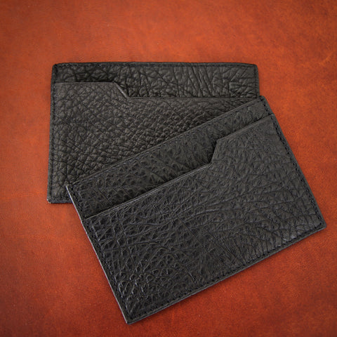 Bill Amberg English Vegetable-Dyed Pebbled Leather Credit Card Sleeve in Black (LEO Design)