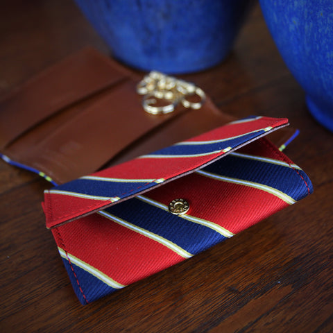 Japanese Repp Stripe Key Wallet with Leather Lining, Brass Key Rings and a Closure Snap (LEO Design)