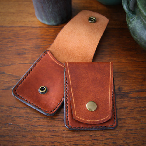 Hand-Stitched and Waxed Rustic Leather Business Card Case with Brass Snap (LEO Design)