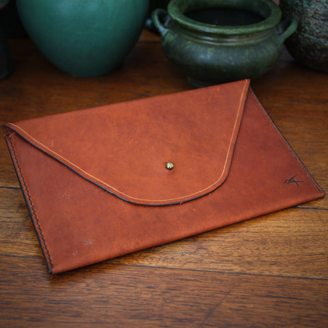 Rustic Hand-Stitched and Waxed Vegetable Dyed Leather Mini Portfolio (or Mini iPad Case) with Brass Stud Closure (LEO Design)