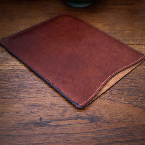 Rustic Hand-Stitched and Waxed Vegetable Dyed Leather iPad Case (LEO Design)